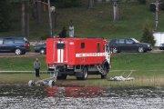 Ugniagesių gelbėtojų technika Dauniškio ežero pakrantėje