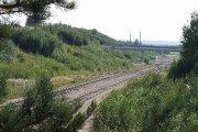 Geležinkelio bėgiai paramonės rajone ir aplinkelio viadukas