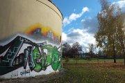 Graffiti ''Utenos jaunimas'' miesto sode