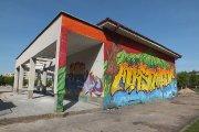 Graffiti ''Aukštaitija'' ant elektros skydinės Dauniškyje